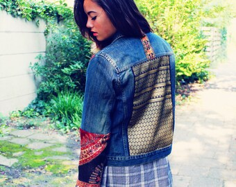 Bohemian Denim Jacket Embellished Size XXS - M 90s Vintage Button Down Boho Hippie Gypsy Upcycled Clothing Recycled Eco Friendly OOAK