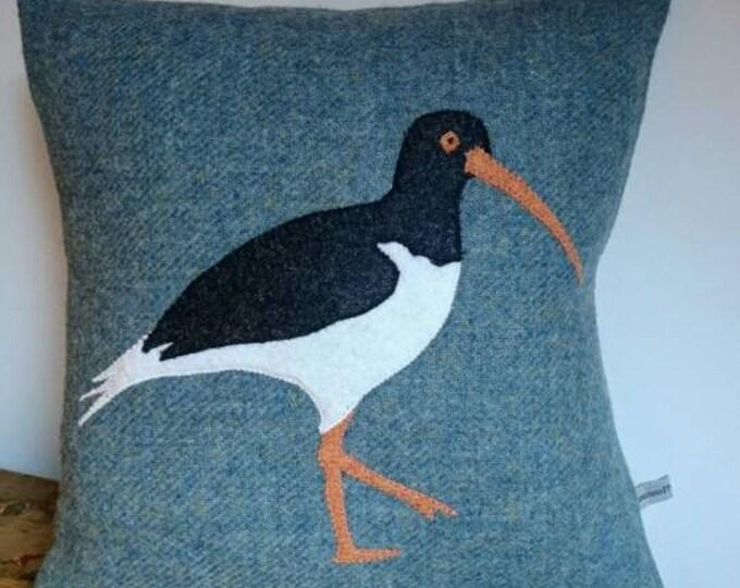 Hand Crafted Harris Tweed bird cushion cover