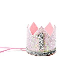 Baby First Birthday Crown ||  Pink Birthday Crown || Birthday Party Hat || Pink + Silver Glitter Crown