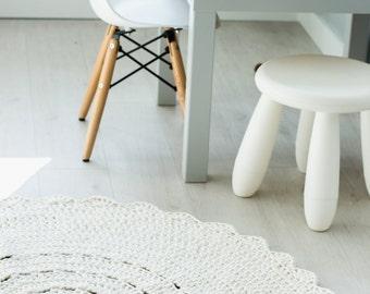 Crocheted round cotton cream rug fi 100cm 40''  crochet rug   ecru rug   scandinavian rug   cream rug   round rug   round carpet   beige rug
