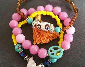 Colorful bracelet set with evil eye and peace sign. Turquoise and rosequartz gemstones. Bohemian bracelet. Ibiza bracelets