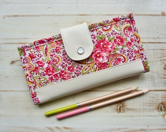 Floral bifold wallet, women's wallet, handmade checkbook wallet, fabric wallet, passport wallet, faux leather wallet, long wallet ,iPhone x