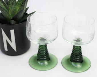 Pair of Luminarc Green Spiral Stem Glasses