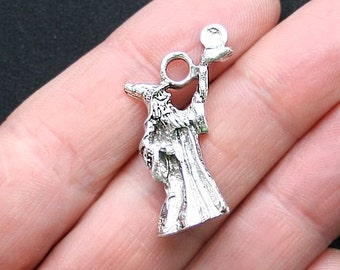 2 Wizard Charms Antique Silver Tone 3D- SC3282
