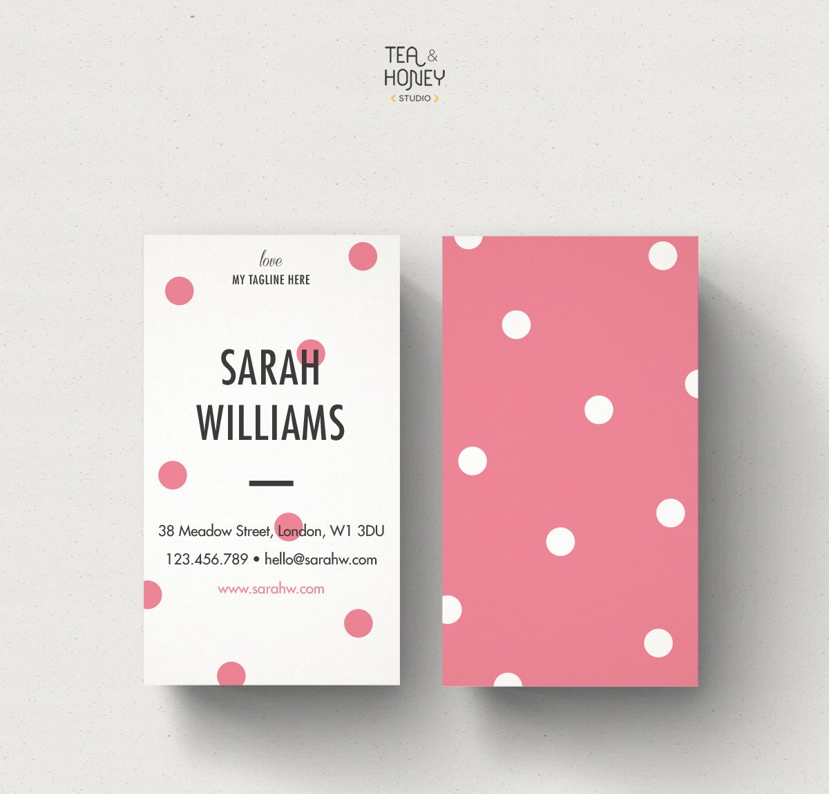 Portrait Business Card Polka dots design Modern Calling