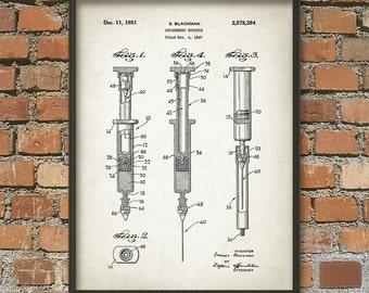 Syringe Patent Wall Art Poster - Medical Art Print - Medical Student Gift Idea