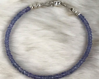 Genuine 3.5mm Tanzanite, Karen Hill Tribe beads, Gemstone bracelet with magnetic clasp