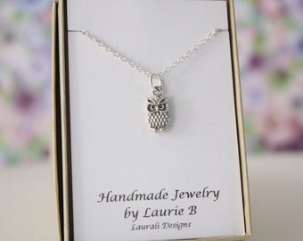 Owl Charm Necklace, Friendship Gift, Sterling Silver, Bestie Gift, Wise Owl Charm, Thank you card, Nature, Bird Charm