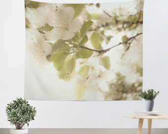 Art Wall Tapestry Soft White Flowers Modern photography Unique Wall Hanging home decor nature photo photograph ethereal light shabby chic