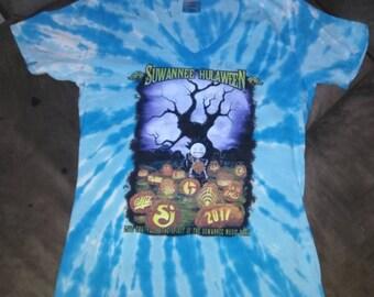 Suwannee Hulaween 2017 Ladies Cut blue tye dye Direct to Garment