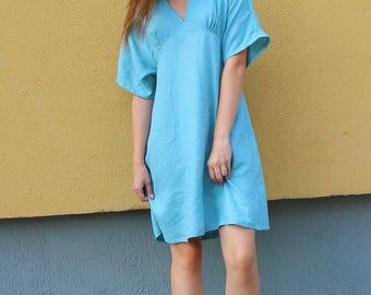 Light green linen dress,  sleevless midi dress, women summer clothing