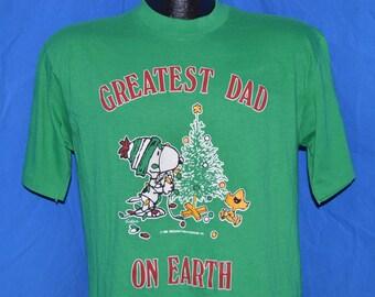 80s Snoopy Greatest Dad on Earth Peanuts Christmas Green Vintage t-shirt Medium