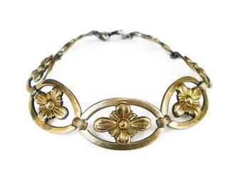 Vintage Sterling 14K Gold Plated Bracelet - WE Richards Co, Symmetalic, Sterling Silver, Rosette, Vintage Bracelet, Antique Jewelry