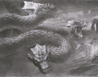 """Hydra - the mythical serpent from ancient Greek mythology - 8"""" x 10"""" art print of a charcoal drawing"""