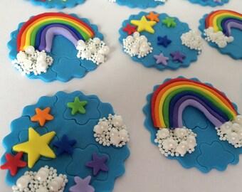Rainbow Fondant Cupcake Topper set of 12
