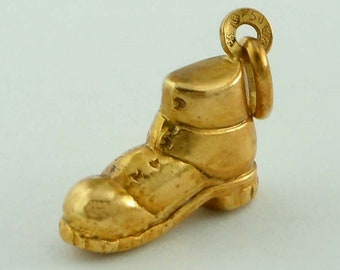 18kt Yellow Gold Shoe Boot Pendant Charm 750