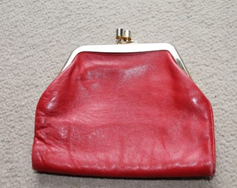 1950's Red Leather Purse