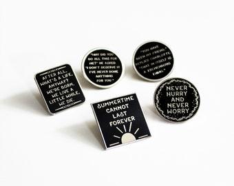5 Pack Pin Set Charlotte's Web black silver white hard enamel, literature EB White inspired