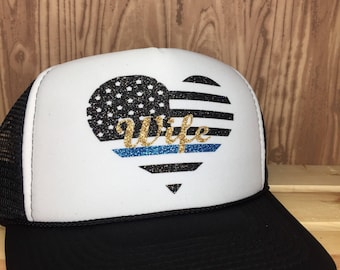 Police heart american flag  trucker hat, police wife, police mom trucker hat, thin blue line trucker hat