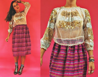 vintage Romanian Wedding Sheer Metallic Embroidered Folk Blouse with Sequin