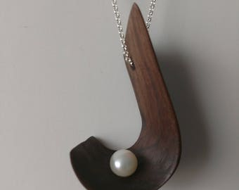 Walnut and Pearl Pendant
