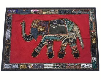 Elephant Design Wall Hanging Handmade Table Cover Indian Cotton Patchwork Hand Embroidered Tapestry Hand Stitched Home Decor Wall Tapestry