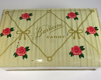 Vintage Candy Tin, Barricini Chocolates,  Red Rose, Gold