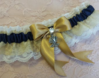 Navy Blue, Gold & Ivory Lace Beauty and the Beast Inspired Rose Charm Wedding Leg Garter Belt Toss or Set