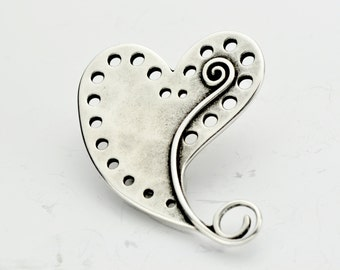 Funky Heart Pendant - Charm -  Finding - Antique Silver - Sterling Silver Plated Findings - Necklace - Focal Bead - Qty. 1