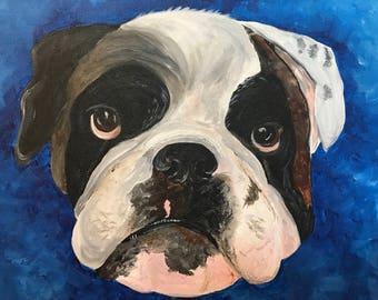 Custom pet portrait, acrylic pet painting