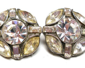 50s Glass Rhinestone Buttons, 2 Medium glass in silver metal, 7/8""