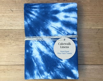 Indigo Tea Towel, Tie Dye Tea Towel, Classic Spiral Design, Flour Sack Towel
