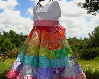 Girls Rainbow Dress Patchwork 7 Tiered Twirl Dress 2 3 4 5 6 7 8 9 10 12 14 16