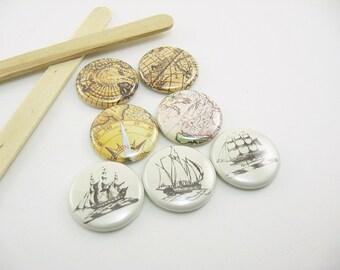7 Fridge Magnets, kitchen decor, ship magnets, map magnets, refrigerator magnets, vintage maps, pin back buttons, neutral brown 1236
