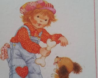 Vintage Greeting Card - Current Valentine Card  - Sunnysides - Little Boy Giving Bone to Puppy