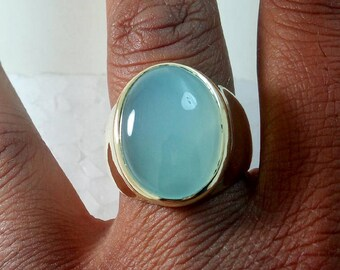 Natural Aqua Chalcedony Gemstone Ring- Large Oval Aqua Chalcedony Ring- 18K Yellow Gold Over Sterling Silver Ring- Birthstone Men's Ring