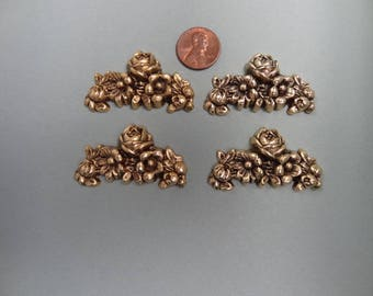 4 - Gold Plated Findings with Roses and Flowers - Buy 4 and Get 1 FREE