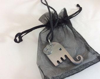 Elephant Fork necklace pendant,  silverware flatware jewelry pendant necklace, boho art deco handmade