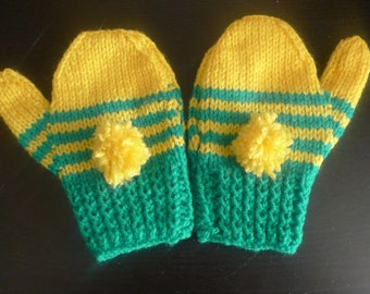 Child's Green and Yellow Hooped Mittens