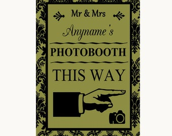 Olive Green Damask Photobooth This Way Right Personalised Wedding Sign