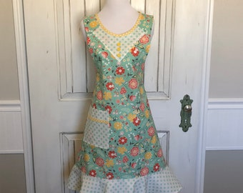 Turquoise polka dot and floral apron
