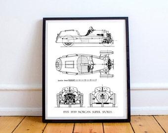 """Morgan 3-Wheeler Blueprint, Morgan Car, Blueprint Art, Blueprints, Printable Art, Instant Download, Morgan Super Sports, 8x10, 14x11"""""""