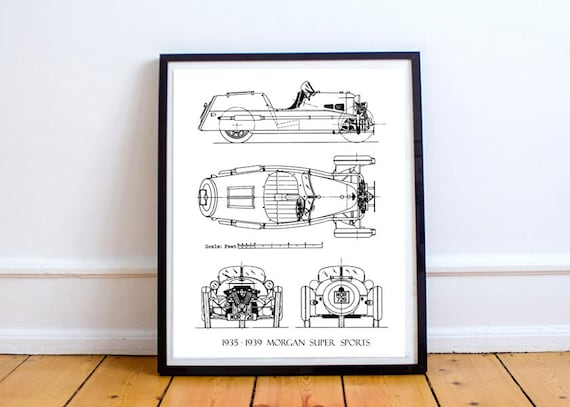 Morgan 3 wheeler blueprint morgan car blueprint art morgan 3 wheeler blueprint morgan car blueprint art blueprints printable art instant download morgan super sports 8x10 14x11 malvernweather Choice Image