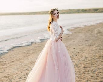 blush wedding dress // powder wedding dress // two piece wedding dress // tulle wedding dress // floral wedding dress