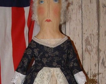 "Primitive Folk Art Martha Washington Doll ""E"" Pattern"