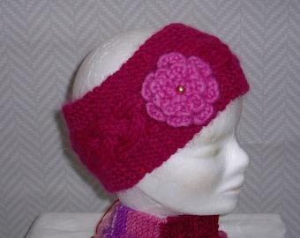 "Headband, headband, pink OOAK hand-knitted ""Fuschia"""