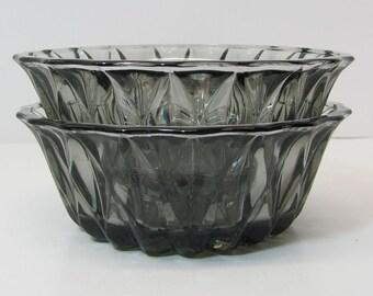 Two Smokey Glass Bowls - Candy Bowls - Ice Cream Bowls - Dessert Bowls - Colored Glass Bowls
