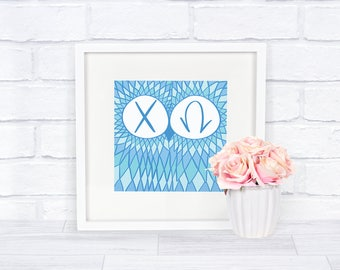 Chi Omega Blue Owl Square Downloadable Instant Print