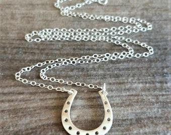 Horseshoe Charm Necklace, Silver Horseshoe Necklace, Horseshoe Necklace, Horseshoe Jewelry, Horseshoe Charm, Horse Lovers Gift