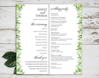 Greenery Wedding Programs Template, Editable Program, Wedding Program Template, Printable Programs, Program Printable, Botanical, 6092